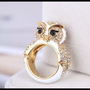 Kate Spade Gold/Enamel White Owl Ring Crystal Sz 7
